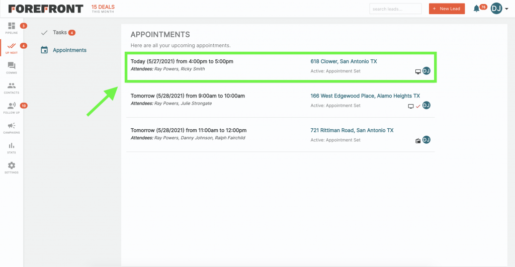 Forefront CRM Appointments