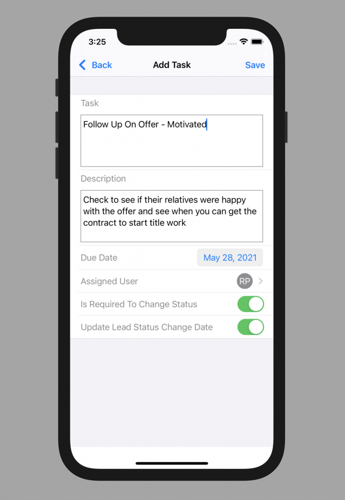 Forefront CRM iOS Add Task