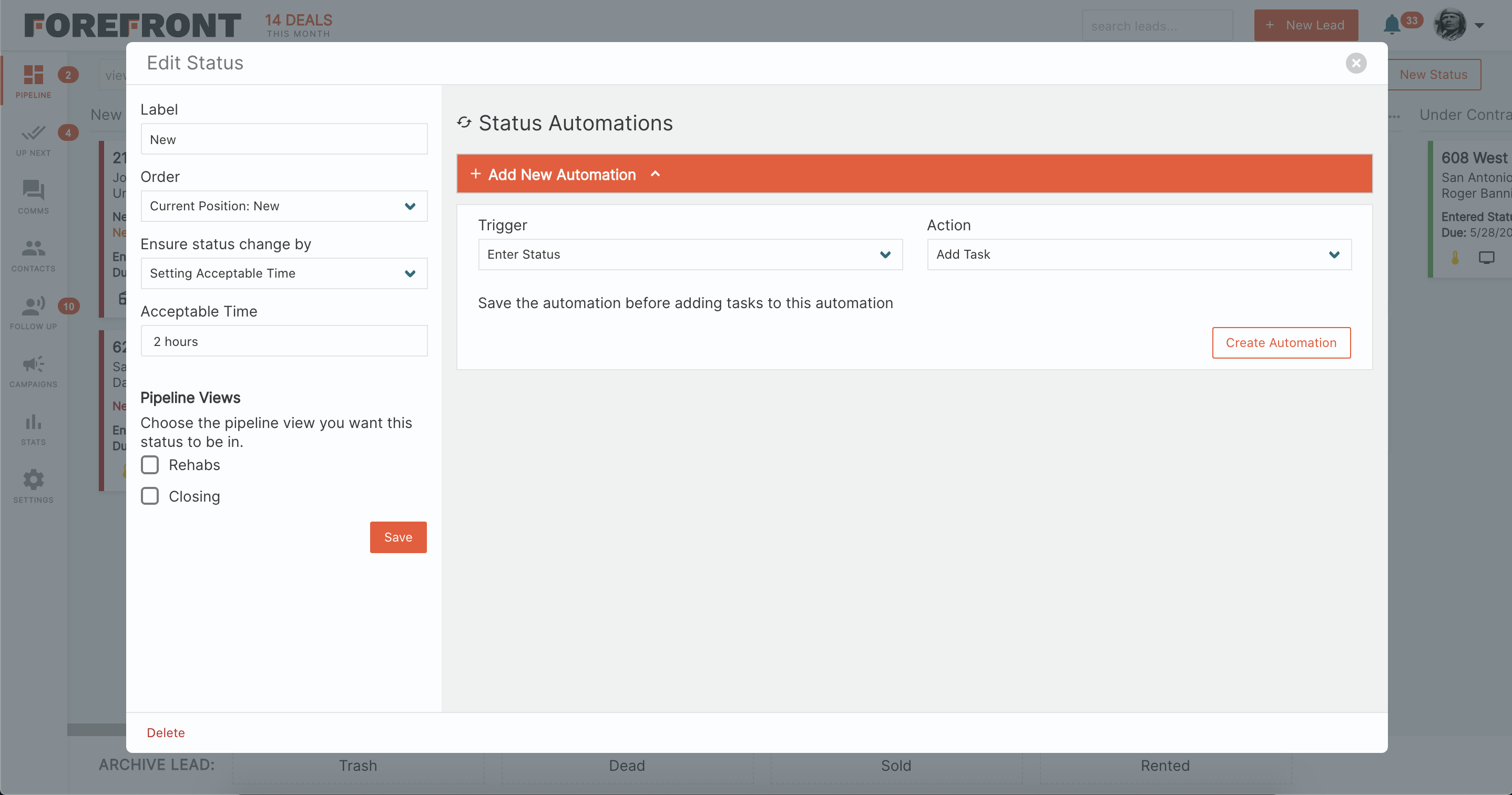Forefront CRM Customize Pipeline Statuses