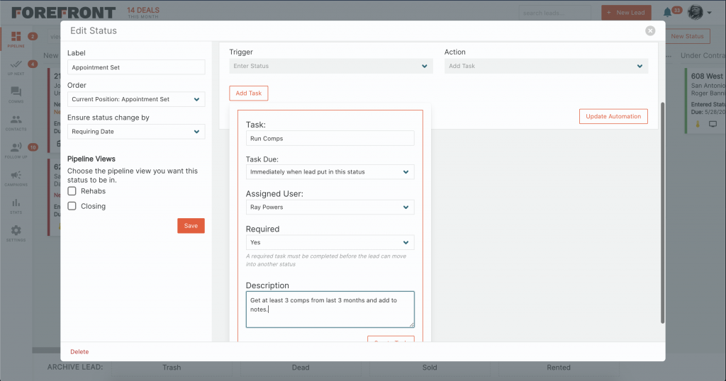 Forefront CRM Automated Tasks