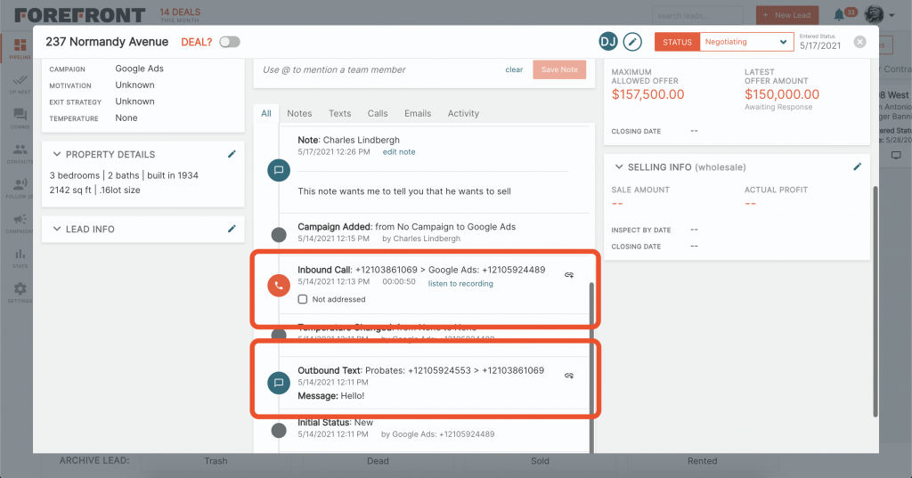 Forefront CRM Track Communications