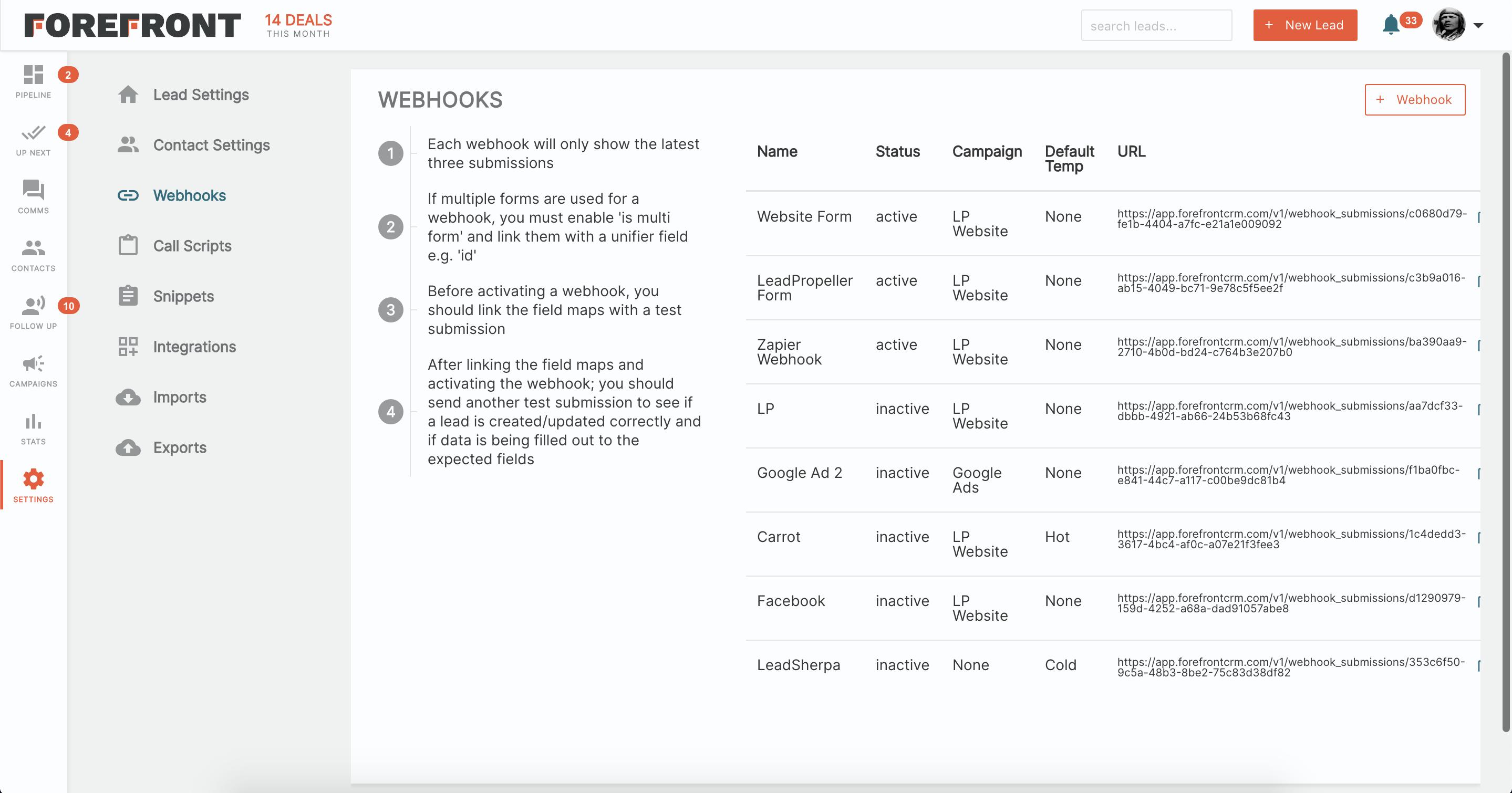 Forefront CRM Webhooks